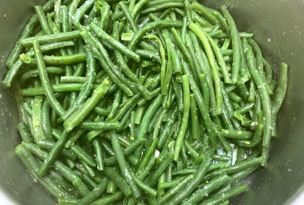 Haricots verts frais au beurre fondu