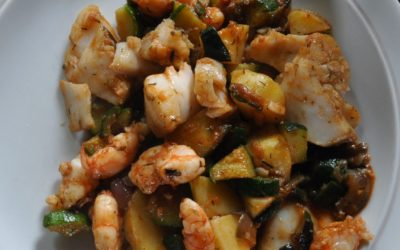 Poisson et gambas au wok